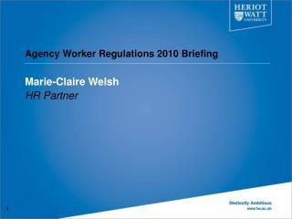 Agency Worker Regulations 2010 Briefing