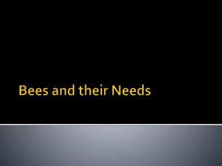 Bees and  their Needs