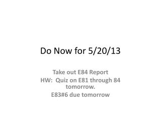 Do Now for 5/20/13