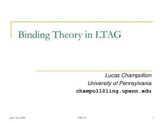 Binding Theory in LTAG