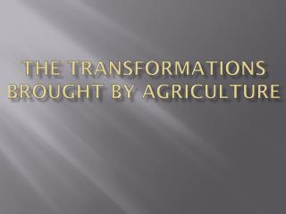 The Transformations Brought by Agriculture