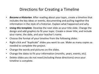 Directions for Creating a Timeline