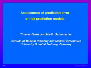 Assessment of prediction error  of risk prediction models
