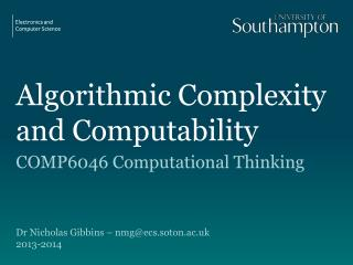 Algorithmic Complexity  and Computability