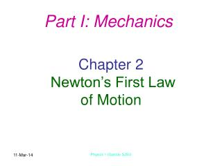 Chapter 2 Newton's First Law of Motion