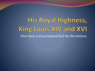 His Royal Highness,  King Louis XIV and XVI