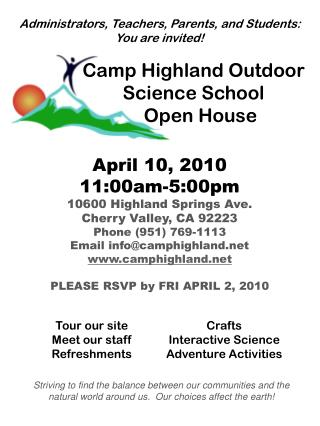 Camp Highland Outdoor Science School    Open House