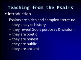 Teaching from the Psalms