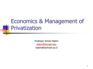 Economics & Management of Privatization
