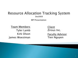 Resource Allocation Tracking System Dec0909