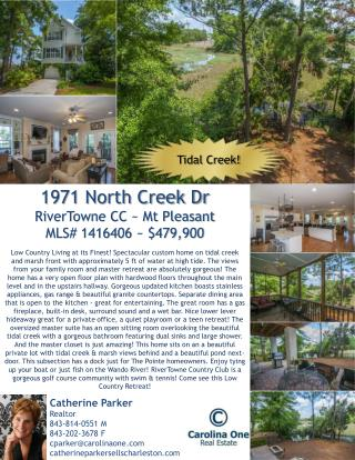 1971 North Creek Dr RiverTowne CC ~  Mt Pleasant MLS#  1416406 ~ $479,900