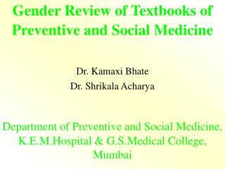 Gender Review of Textbooks of Preventive and Social Medicine