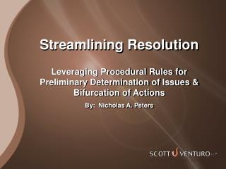Streamlining Resolution