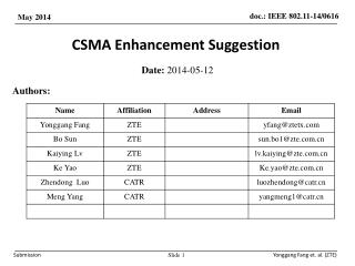 CSMA Enhancement Suggestion