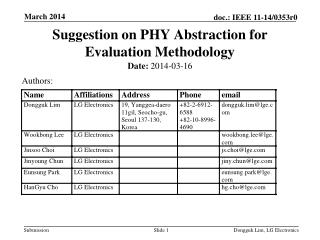 Suggestion on PHY Abstraction for Evaluation Methodology