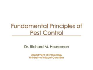 Fundamental Principles of Pest Control