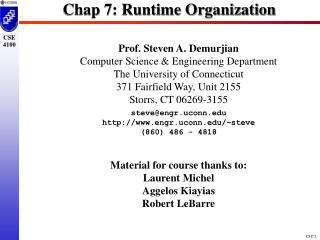 Chap 7: Runtime Organization