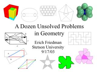 A Dozen Unsolved Problems in Geometry
