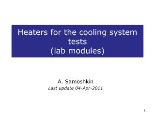 Heaters for the cooling system tests  (lab modules)