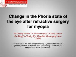 Change in the  Phoria  state of the eye after refractive surgery for myopia