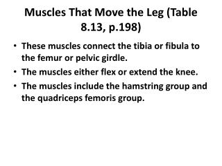 Muscles That Move the Leg (Table 8.13, p.198)