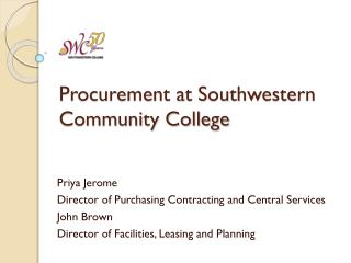 Procurement at Southwestern Community College