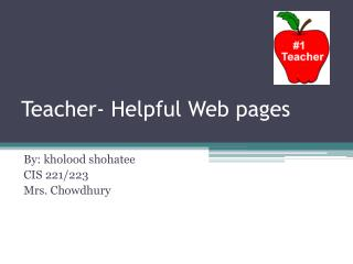 Teacher- Helpful Web pages