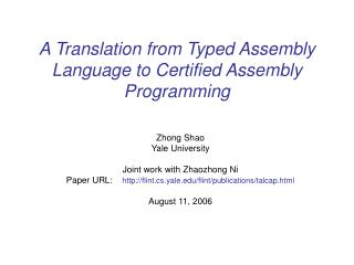 A Translation from Typed Assembly Language to Certified Assembly Programming