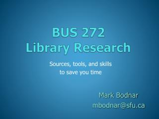 BUS 272 Library Research