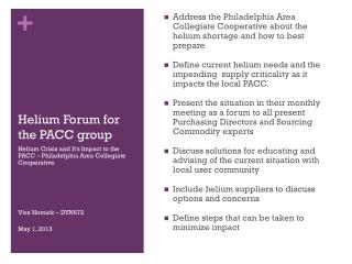 Helium Forum for the PACC group