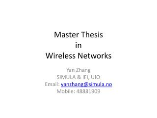 Master Thesis in  Wireless Networks