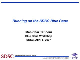 Running on the SDSC Blue Gene