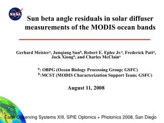 Sun beta angle residuals in solar diffuser measurements of the MODIS ocean bands