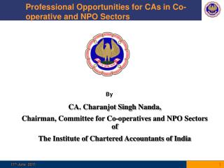 Professional Opportunities for CAs in Co-operative and NPO Sectors