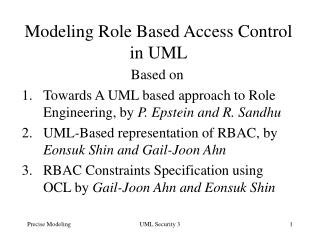 Modeling Role Based Access Control in UML