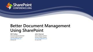 Better Document Management Using SharePoint