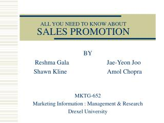 ALL YOU NEED TO KNOW ABOUT SALES PROMOTION