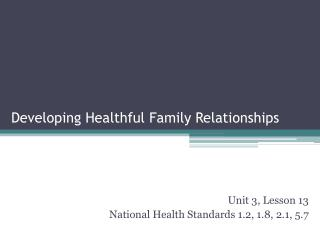 Developing Healthful Family Relationships