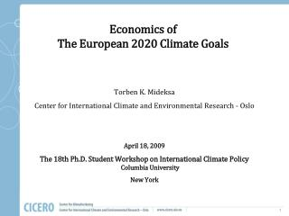 Economics of  The European 2020 Climate Goals