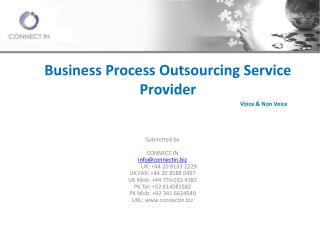 Business  Process Outsourcing  Service Provider 						Voice & Non  Voice