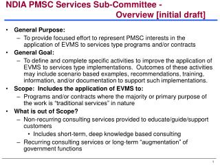 NDIA PMSC Services Sub-Committee - Overview [initial draft]