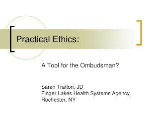 Practical Ethics: