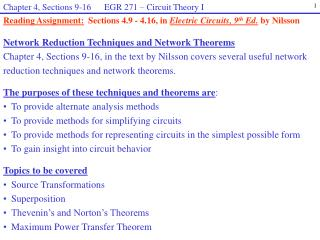 Network Reduction Techniques and Network Theorems