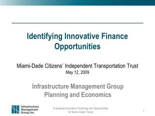 Identifying Innovative Finance Opportunities