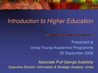 Introduction to Higher Education