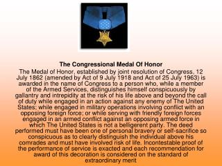 The Congressional Medal Of Honor