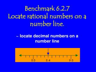 Benchmark 6.2.7 Locate rational numbers on a number line.