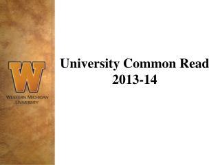 University Common Read 2013-14