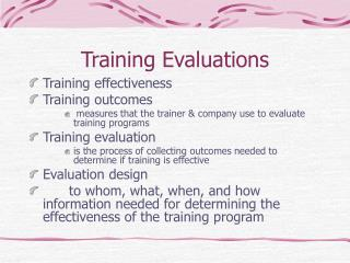 Training Evaluations