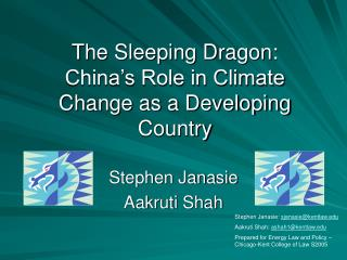 The Sleeping Dragon: China's Role in Climate Change as a Developing Country